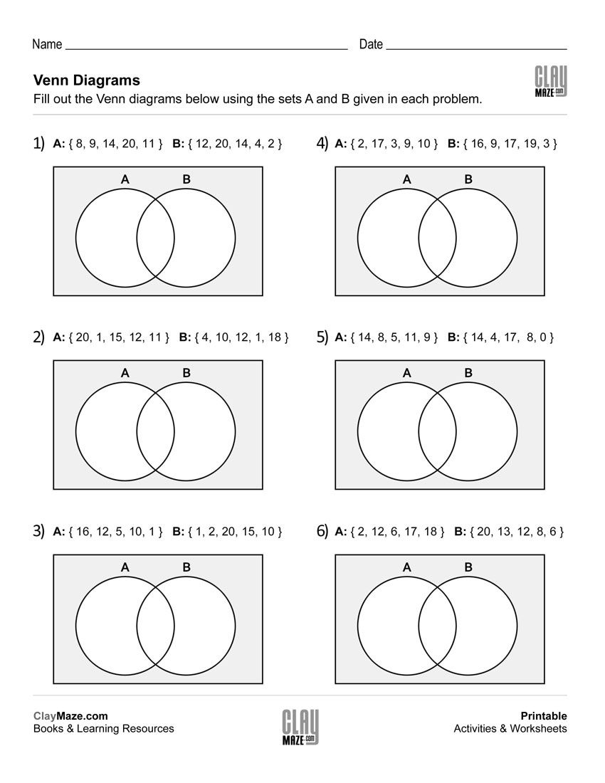 free worksheets on venn dagrams - 2 number sets - intersection and union    Venn diagram worksheet [ 1100 x 850 Pixel ]