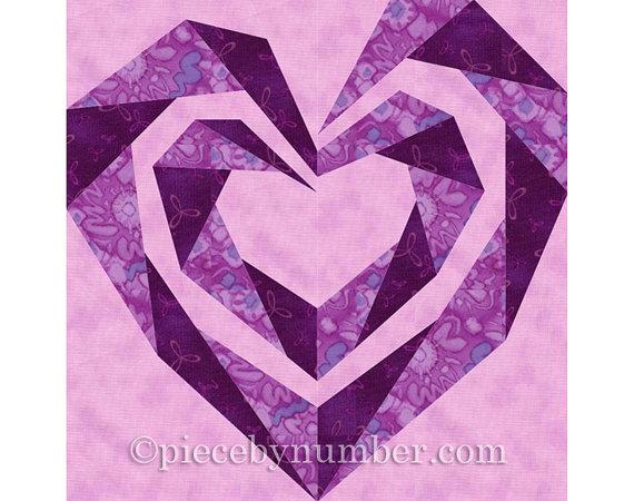 Twisting Spiral Heart quilt block, paper pieced quilt patterns PDF ... : heart quilt block patterns - Adamdwight.com