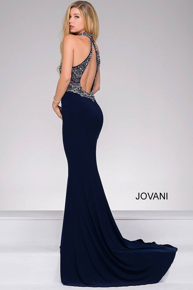 Navy Halter Neck Embellished Bodice Prom Dress 32777 Cool Stuff To