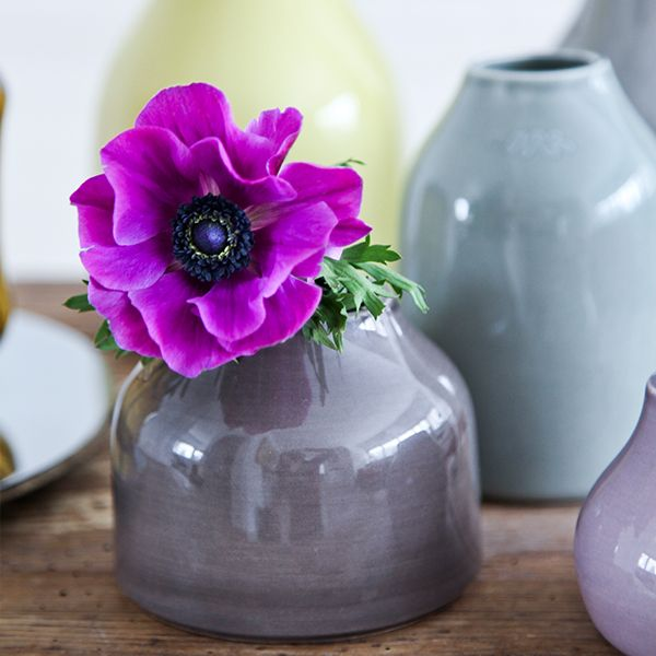 Kahler Kohler Botanica Mini Flower Vase Grey Brown Office
