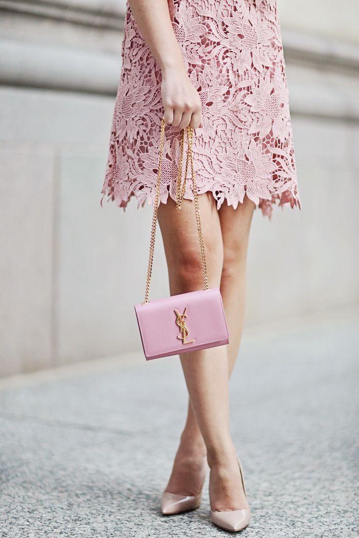 Pretty in pink: lace dress, Saint Laurent shoulder bag & Manolo ...