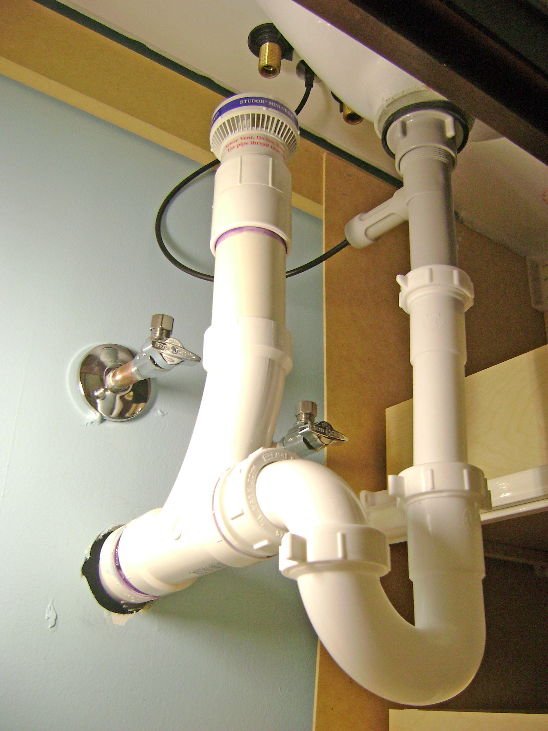 Bathroom Sink Drain Plumbing  Air Vent PTrap and PopUp