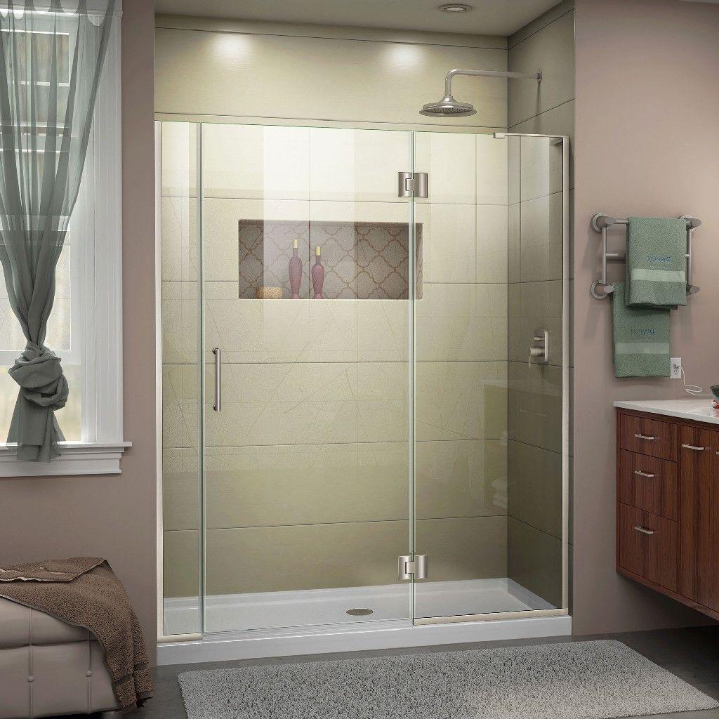 Dreamline Unidoor X 59 59 1 2 W X 72 H Hinged Shower Door In Brushed Nickel Finish Right Wall Bracket Dreamline D3290672r 04 In 2020 Shower Doors Modern White Bathroom Frameless Shower Doors