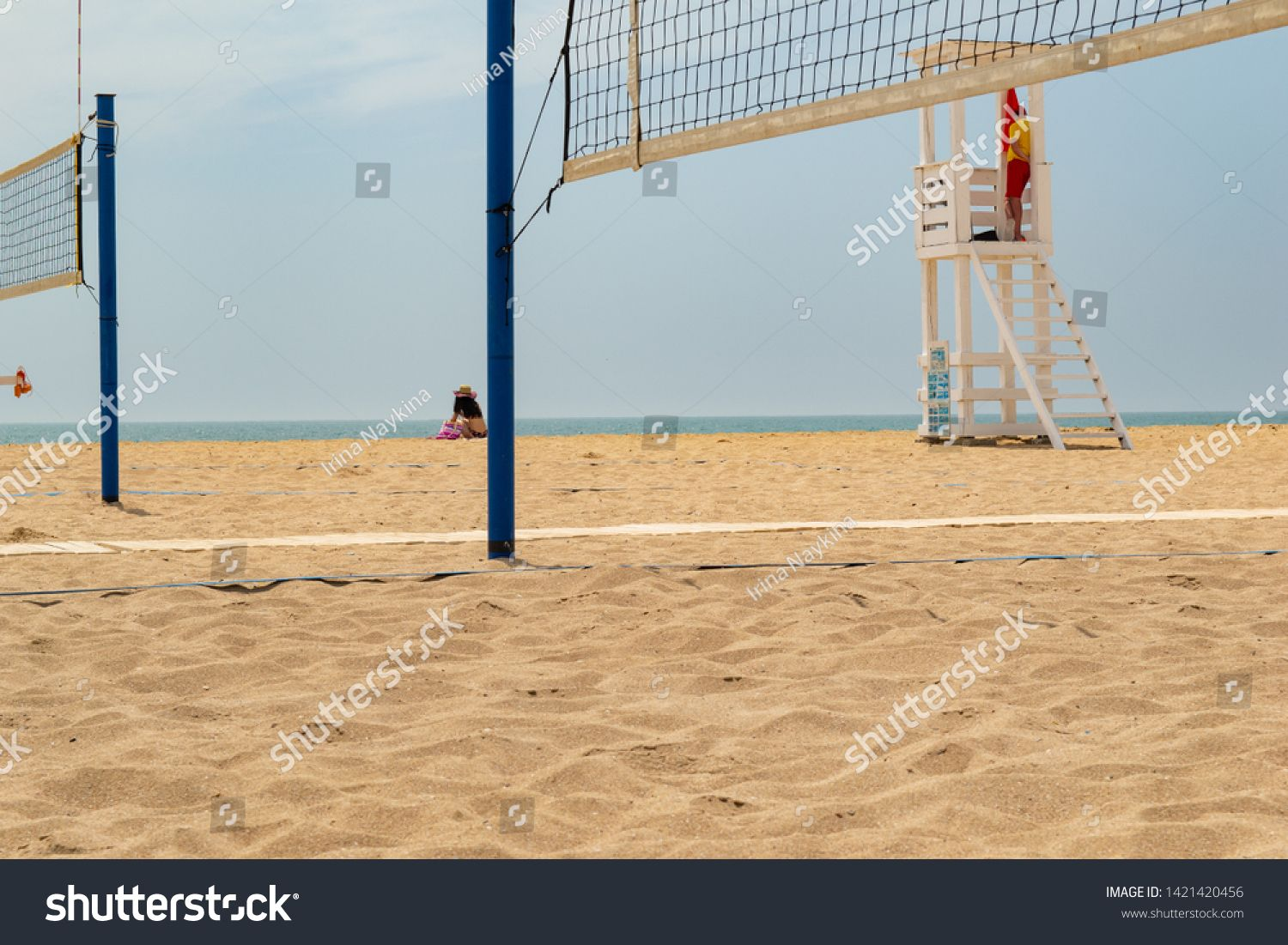 Beach Volleyball Volleyball Court On The Beach Lifeguard Cabin On The Beach The Concept Of Active Sports Sum Beach Lifeguard Beach Volleyball Summer Sports