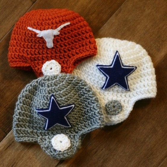 One Day Skins Of Course Crocheted Football Helmet Baby Beanie By