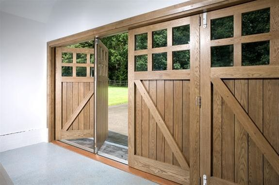 Bespoke Oak Garage Doors - a double garage door, with pedestrian for ...