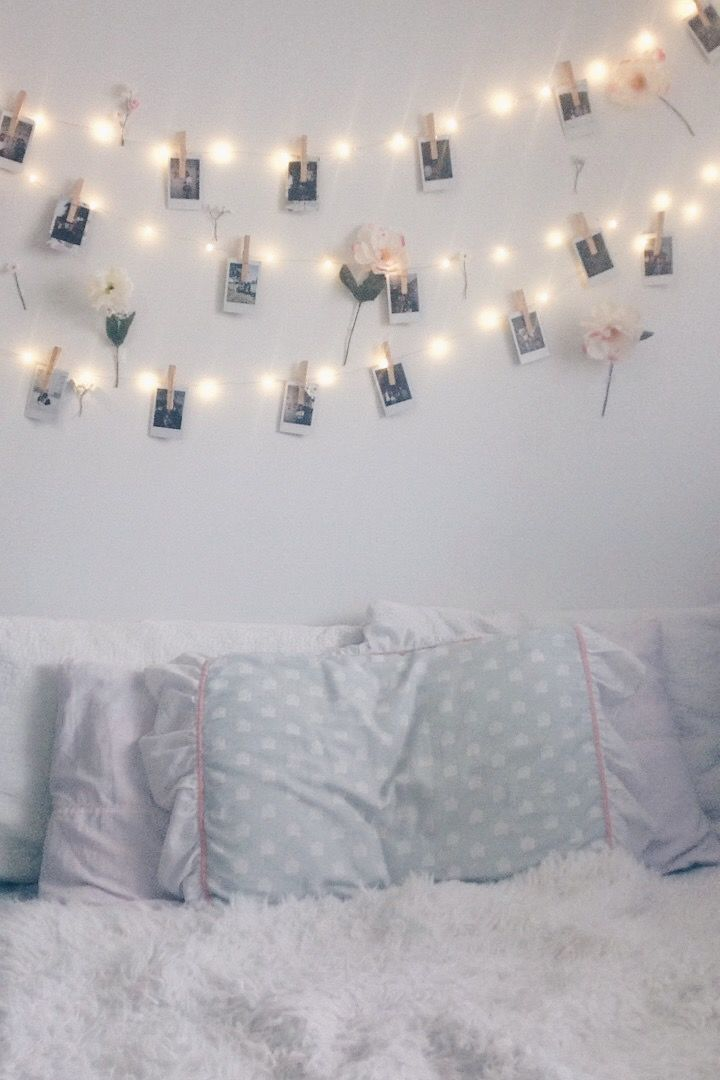 String Lights Ideas Bedroom Part - 21: Room Decor Idea With Fairy Lights Or String Lights Polaroid Pictures And  Fake Flowers Https: