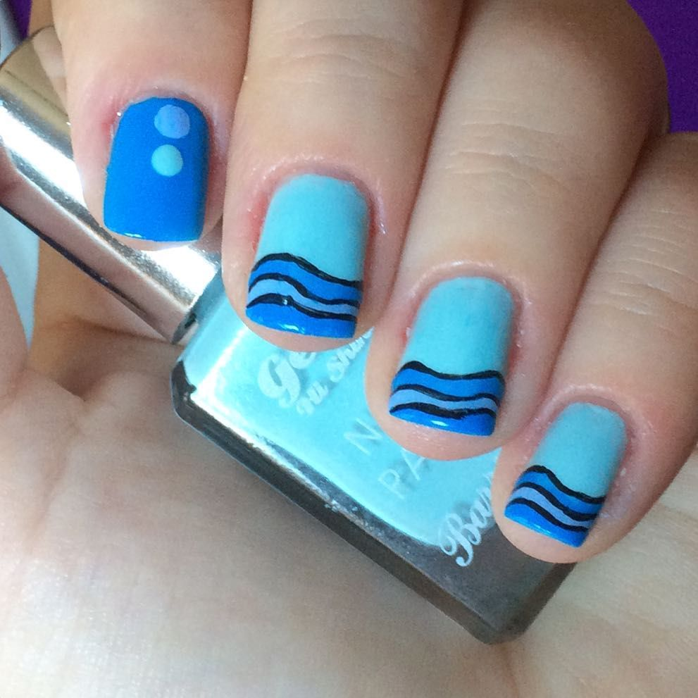 Nnmnails On Instagram Blue Waves Ocean Nail Art Nail Designs