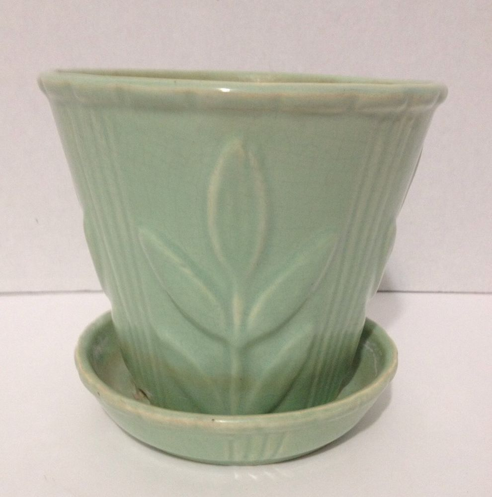 Vintage Early Mccoy Jardiniere Flower Pot Planter Teal Green Attached Plate In Pottery Glass Pottery Vintage Flower Pots Mccoy Pottery Vases Vintage Pottery