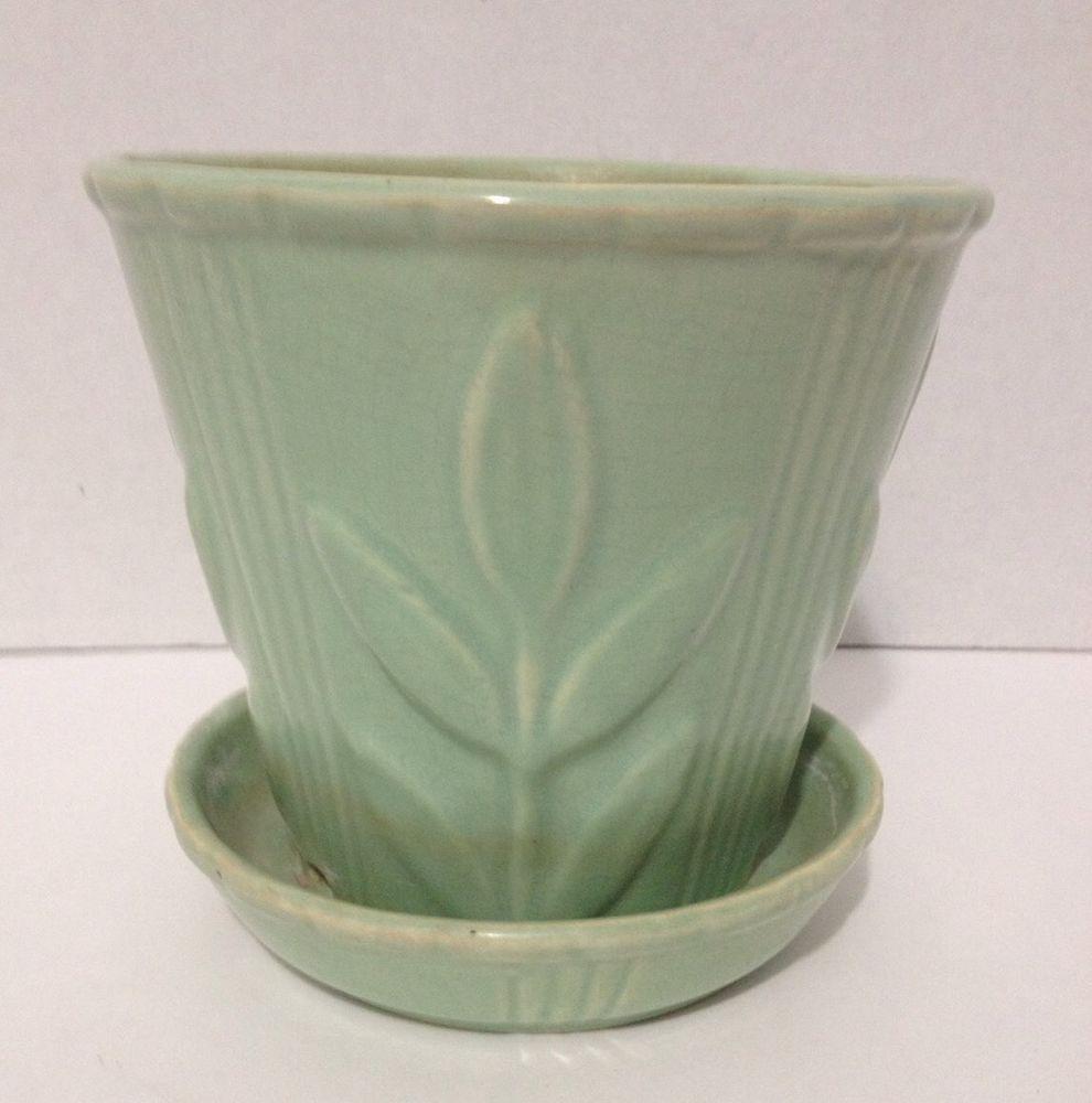 vintage early mccoy jardiniere flower pot planter teal green