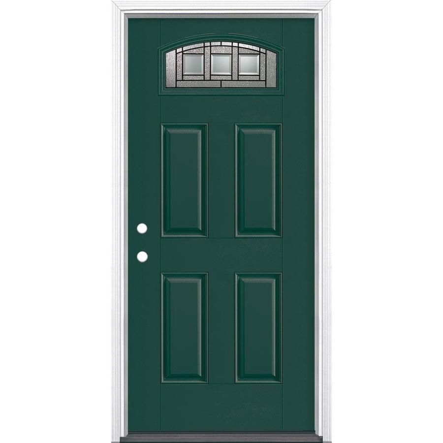Masonite Craftsman 1 4 Lite Decorative Glass Right Hand Inswing Evergreen Painted Fiberglass Prehung Entry Door With Ins In 2020 Entry Doors Clear Glass Glass Supplies