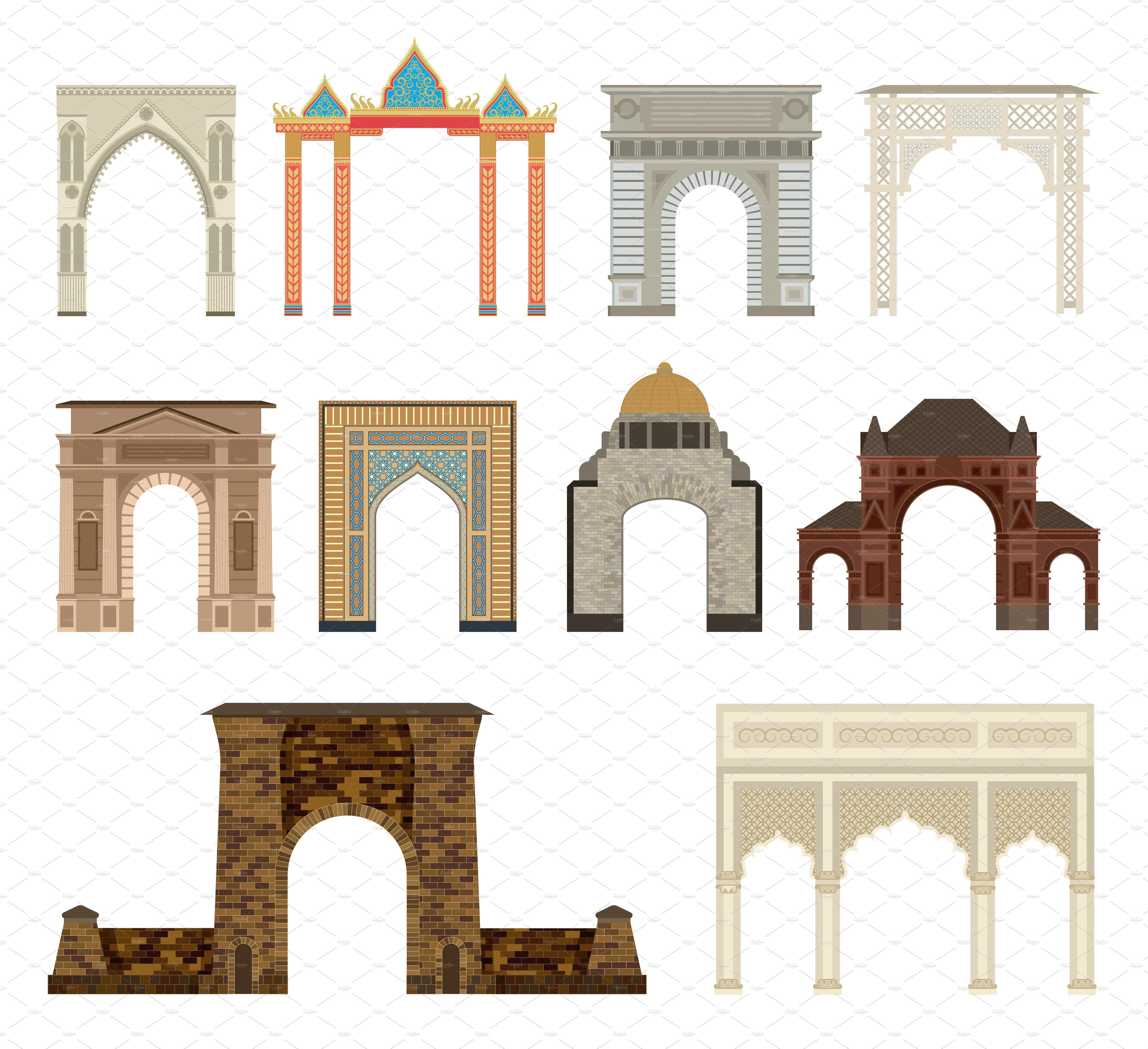 Arch Vector Set Illustration In 2020 Entrance Gates Design Entrance Design Main Gate Design