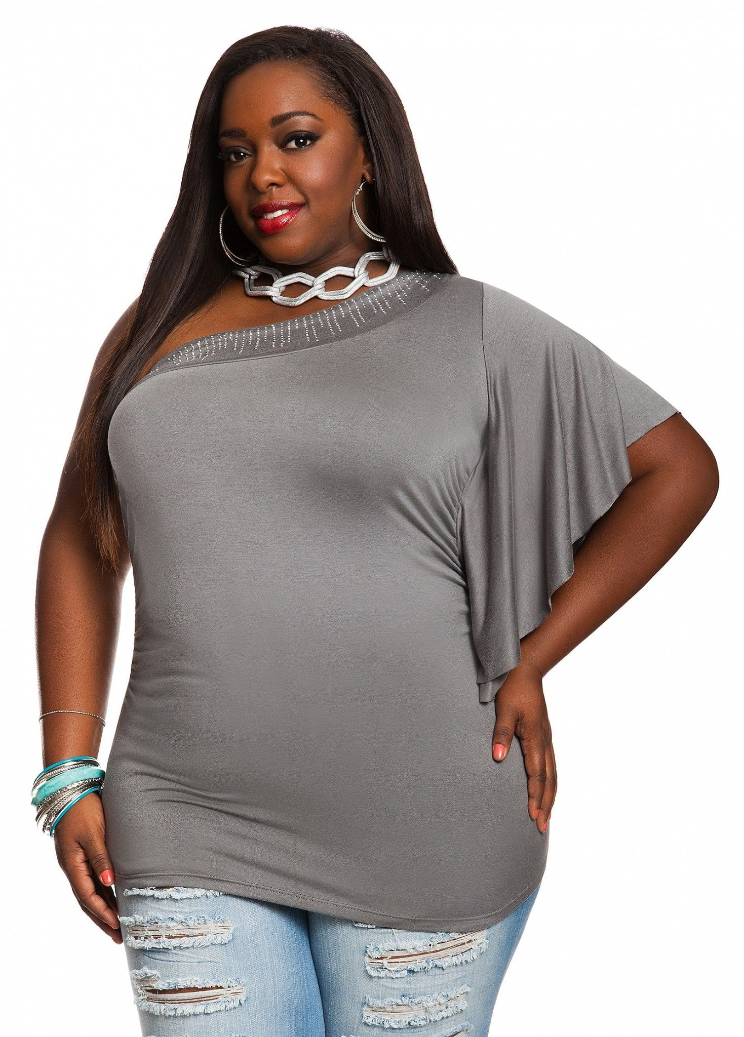 one shoulder gray top plus size style inspiration apparel