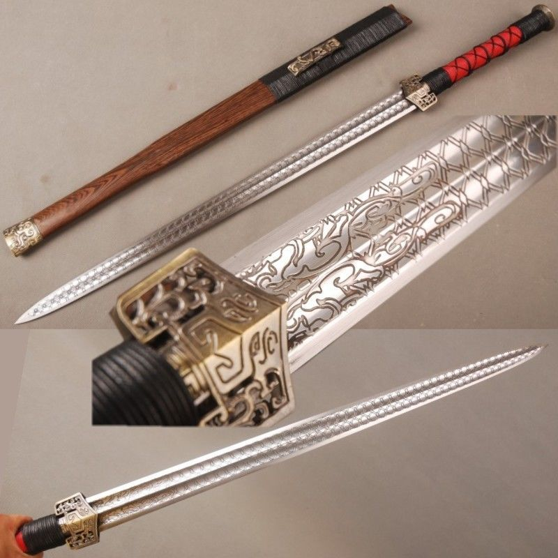 Hand Forged Red Damascus Steel Blade Chinese Sword Han Jian 汉剑 Full Tang Sharp