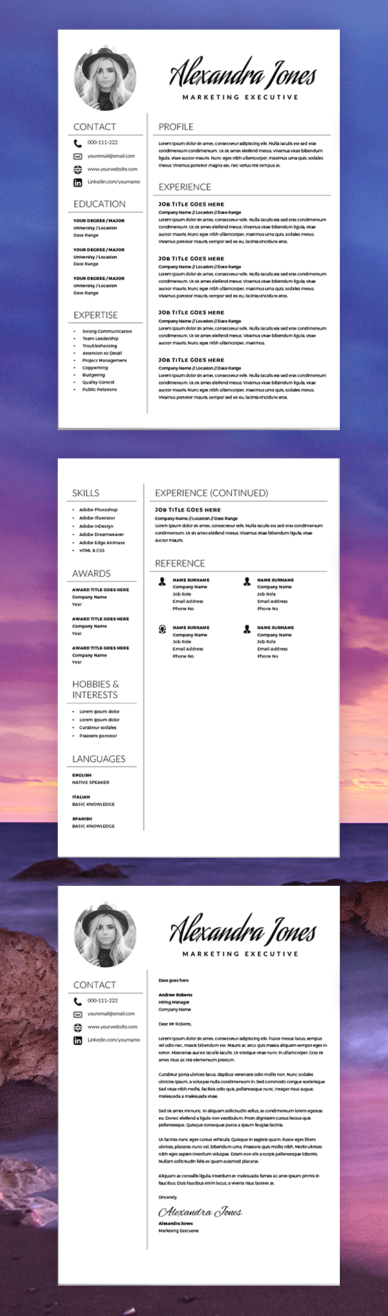 Elegant Resume Template - Creative Resume - Cv Template - Free Cover Letter  - Ms Word On Mac / Pc - Modern Resumes - Instant Download