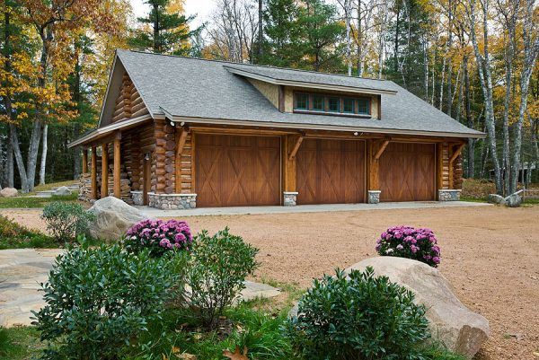 Inspiring Log Homes With Garages Plans Using Barn Style Garage Doors Iordered Your Last Winter And Built The This Summer