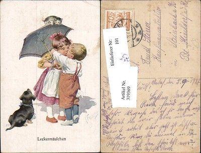 Künstler Ak Feiertag Karl Kinder Kuss Schirm Hund Dackel Katze pub B.K.W. 0