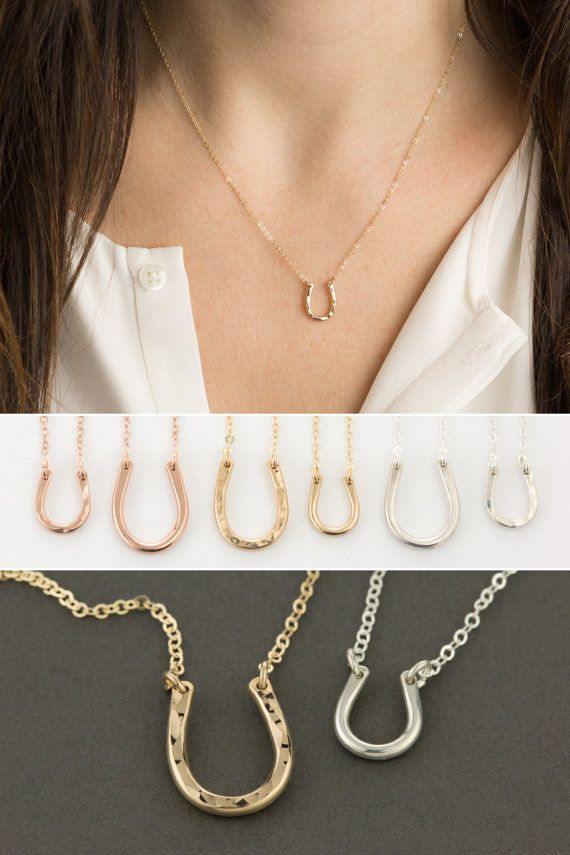 Tiny Horseshoe Necklace   Delicate Chain in 14k Gold Fill 20fd37a740f8
