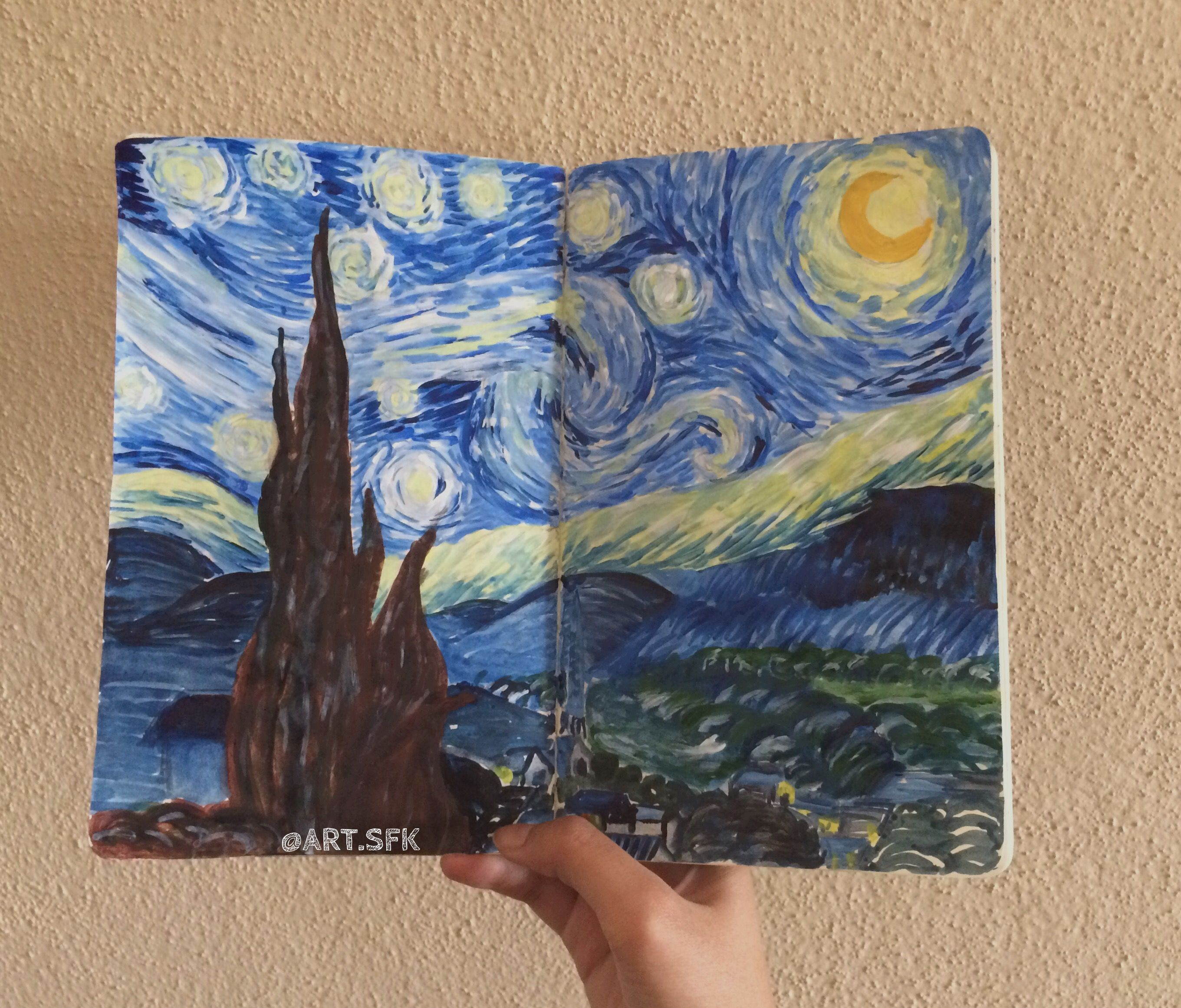 Reproduction Of Starry Night By Vincent Van Gogh #Sketchaday #Sketchoftheday