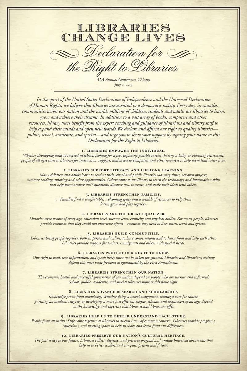 America's Right to Libraries - Libraries Change Lives: Declaration for the  Right to Libraries (
