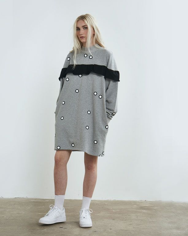 Lazy Oaf Grey spotty frilly Sweater Dress - Everything - Categories - Womens