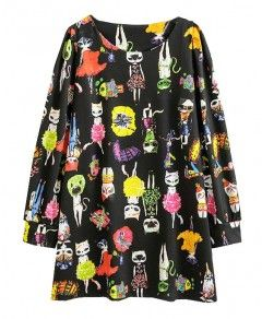 Black Long Sleeves Cats Printed Dress