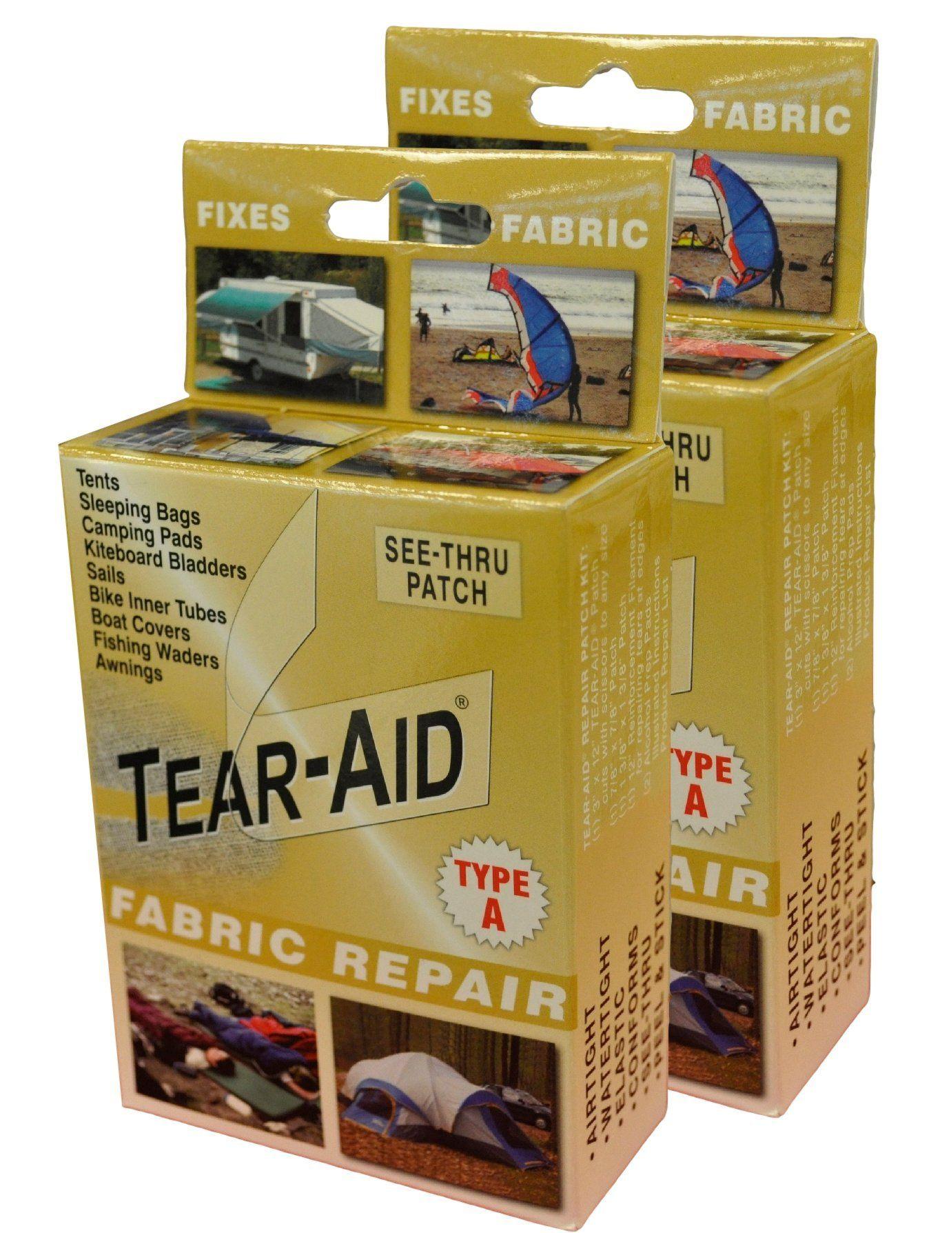 Amazon Com Tear Aid Fabric Repair Kit Gold Box Type A 2 Pack Sports Outdoors Fabric Repair Kits Camping Pad Repair