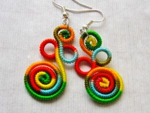 Colorful spiral earrings - Red Buffalo Trading