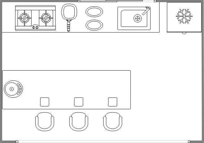 Symbole für Küchenplan Bauplan, Grundriss