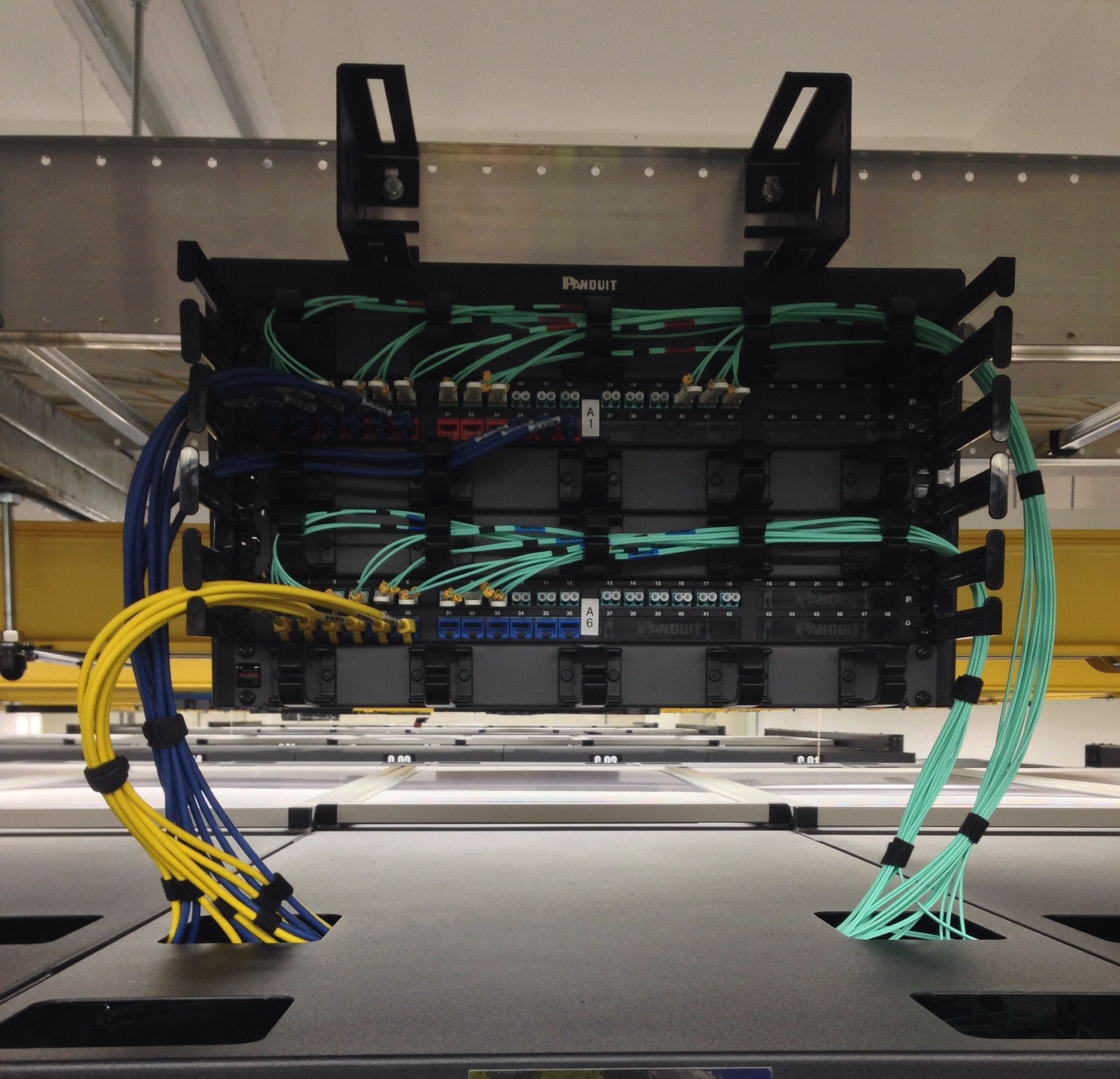 Overhead multi cabinet patch panel structured cabling overhead multi cabinet patch panel panduit fiber lines baditri Image collections