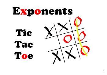 SMARTboard Tic Tac Toe  -  Exponents