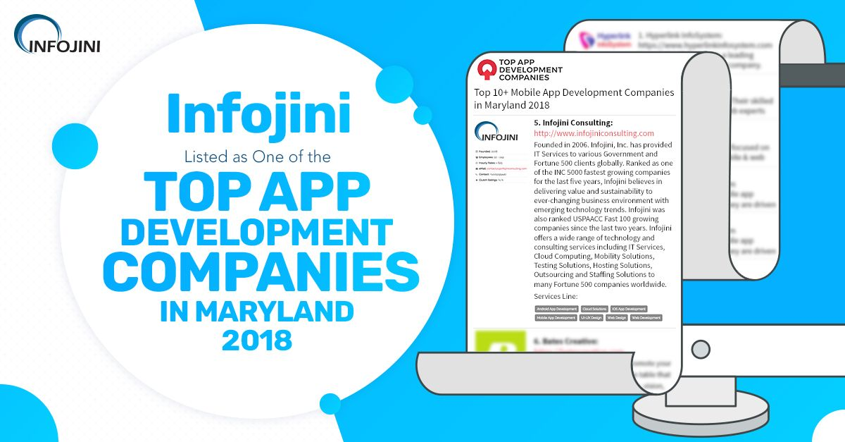 Infojini Listed As One Of The Top App Development Companies In Maryland With Images App Development Companies App Development Development