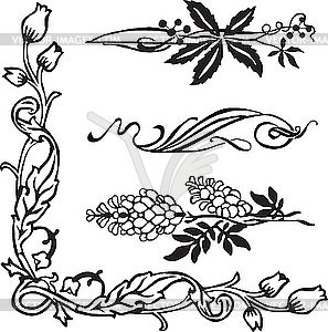 jugendstil-ornamente und ecken - vector-design