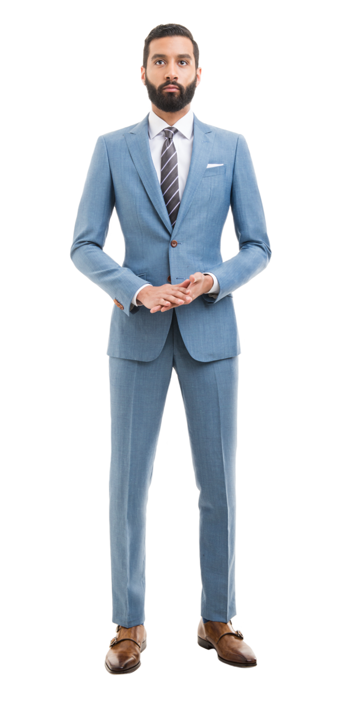 Light Blue Linen Blend Custom Suit | Linen suit