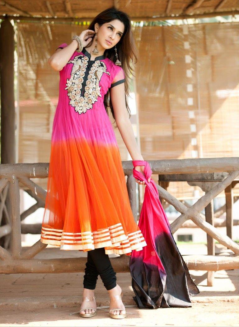 Elegant deep orange u fuchsia salwar kameez