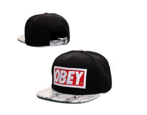 bd28dbba215a1 NEW Obey Hat Adjustable Snapback Cap Snakeskin Black