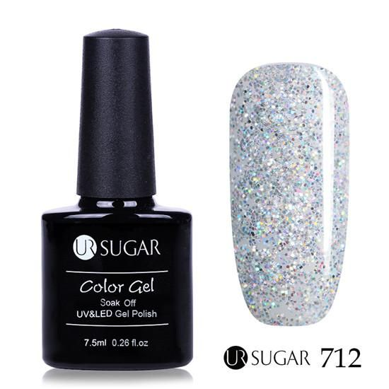 UR SUGAR 7.5ml Silver Holographic Gel Soak Off UV LED Lamp Gel Polish Laser  Sequins bc2fbc226439