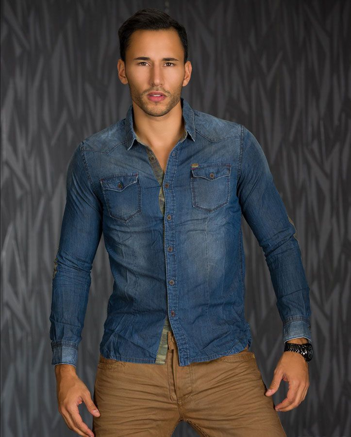 chemise homme en jean fashion bleu 100 coton par ele joseph pinterest. Black Bedroom Furniture Sets. Home Design Ideas
