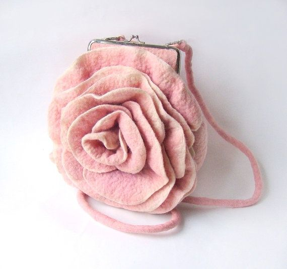 Pink. Felted handbag flower Pink Rosa