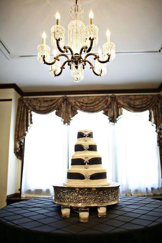 Nashville Garden Wedding Venue | CJ's Off the Square | Black and White Brooch Wedding Cakes - Photo: JHendeson Studios