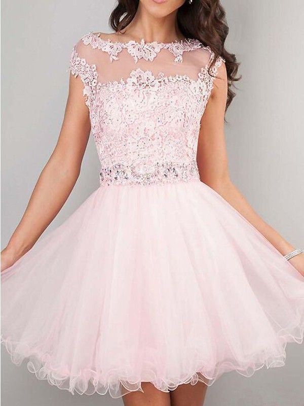 aea7a234936f A-line Tulle Lace Short 2017 Homecoming Dress With Applique Jewel ...