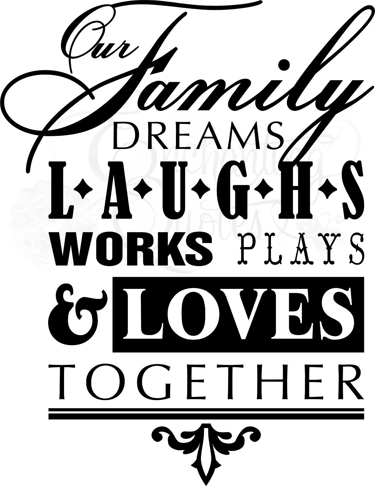 Our Family Dreams Laughs Works Plays And Loves Together Friends Are Family Quotes Family Love Quotes Family Quotes Vinyl