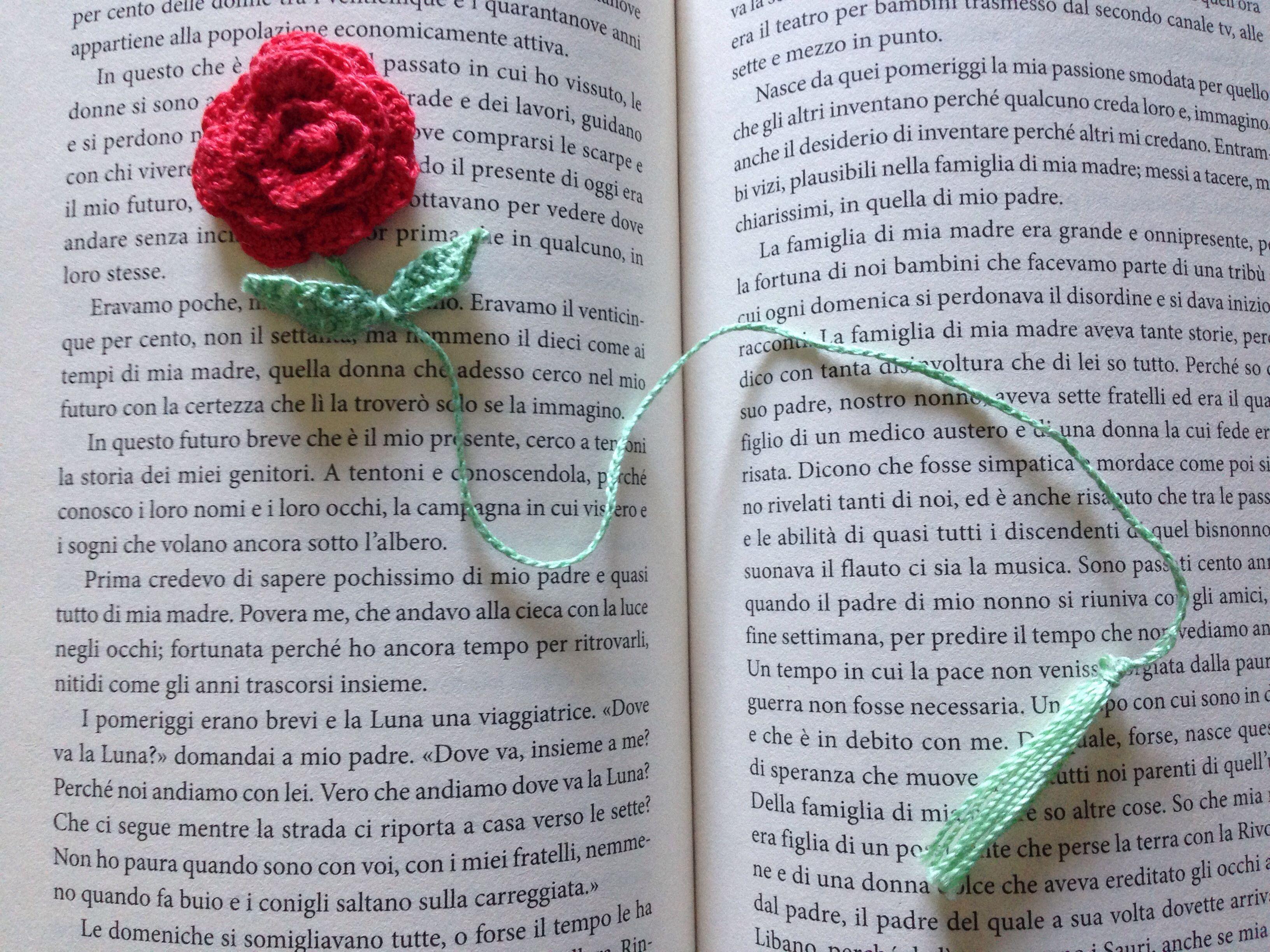 Segnalibro Con Rosa Alluncinetto Crochet Bookmark La Piccola
