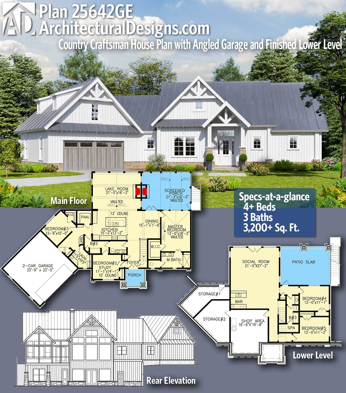 Architectural Designs Craftsman House Plan 25642GE gives