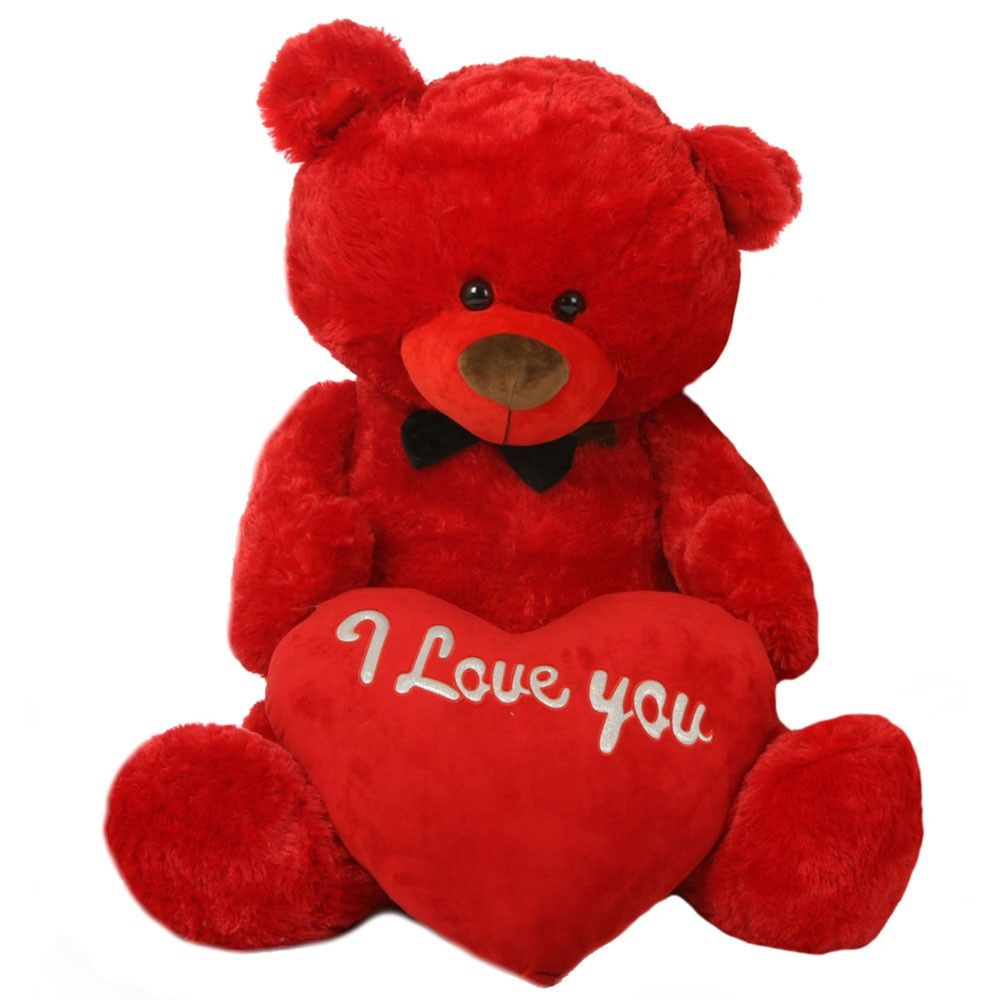 Red 5 Feet Big Teddy Bear With Red I Love You Heart Teddy Bear Teddy Bear Images Big Teddy Bear [ 1000 x 1000 Pixel ]
