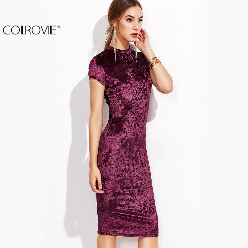 c6355034ec3f Velvet Bodycon Midi Dress Women's Ladies Mock Neck Cap Sleeve Velvet Pencil  Dres