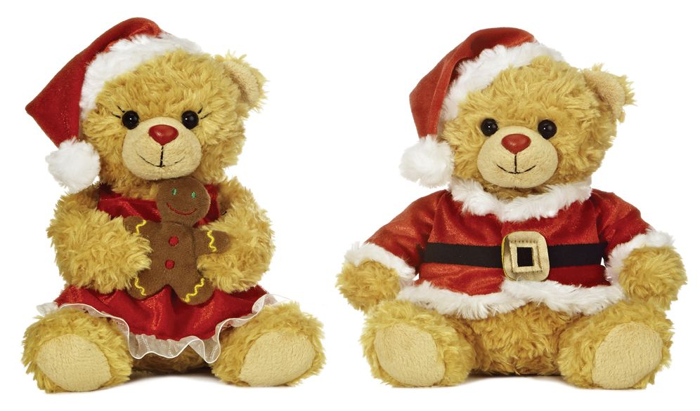 They're making a list and checking it twice! Celebrate Christmas with these adorable Mr. & Mrs. Clause plush bears.