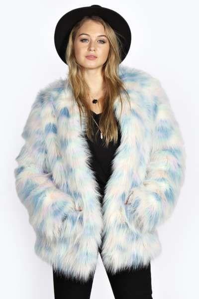 Pastel faux fur jacket