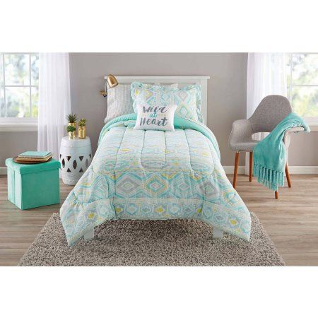 Walmart Bedroom Sets Pleasing Mainstays Watercolor Ikat Bedinabag Complete Bedding Set Decorating Inspiration