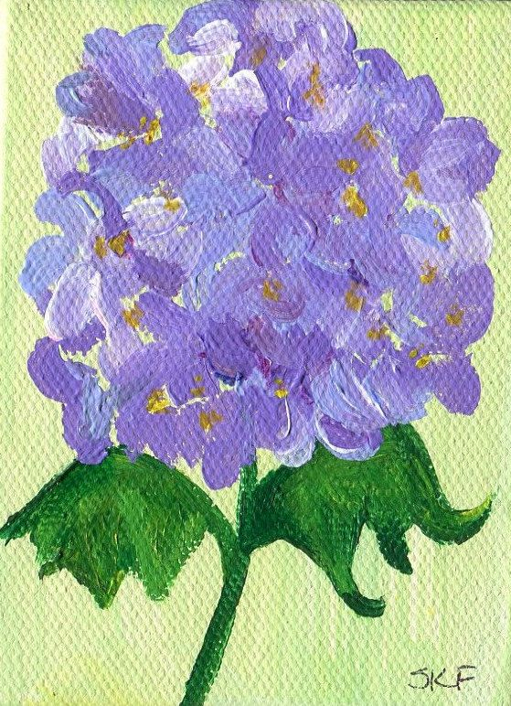 Purple Hydrangeas mini painting on Canvas with Easel. miniature hydrangeas painting, small floral art by SharonFosterArt on Etsy